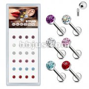 24 Pcs Pre Loaded Paved Crystals Top 316L Surgical Steel Stud Pack for Labret, Lip, Monroe and Ear Cartilage