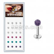 24 Pcs Pre Loaded Crystal Paved Ball  316L Stud Pack for Labret, Lip, Monroe and Ear Cartilage