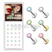 24 Pcs Pre Loaded Box of Illuminating Stone Set Top Internally Threaded Labret, Monroe, Cartilage Stud Pack