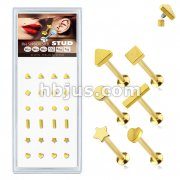 24 Pcs Pre Loaded Internally Theaded Gold IP Over 316L Surgical Steel Stud Pack for Labret, Lip, Monroe and Ear Cartilage