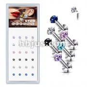 24 Pcs Pre Loaded Internally threaded Prong Set CZ Top 316L Stud Pack for Labret, Lip,  Monroe and Ear Cartilage