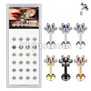 24 Pcs Pre Loaded Internally threaded 6 Gem Flowe Top 316L Stud Pack for Labret, Lip, Monroe and Ear Cartilage
