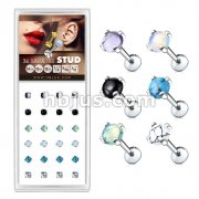 24 Pcs Pre Loaded Box of Semi Precious Stone Prong Set Top Internally Threaded Labret, Monroe, Cartilage Stud Pack