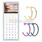 20 Pcs Pre Loaded IP Over 316L Surgical Steel Flat End Nose Hoop Rings Pack