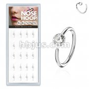 20 Pcs Pre Loaded Box of Nose Hoops 316L Surgical Steel with Clear Gem set Ball