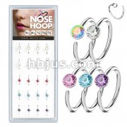 20 Pcs Pre Loaded Box of Nose Hoops 316L Surgical Steel with Mixe Gem set Ball