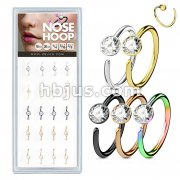 20 Pcs Pre Loaded Box of Nose Hoops IP Plated Over 316L Surgical Steel with Clear Gem set Ball
