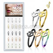 20 Pcs Pre Loaded Box of Nose Hoops IP Plated Over316L Surgical Steel with Anchor