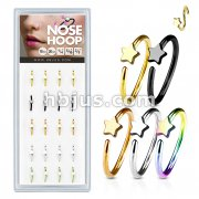 20 Pcs Pre Loaded Box of Nose Hoops IP Plated Over 316L Surgical Steel with Sta