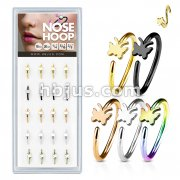 20 Pcs Pre Loaded Box of Nose Hoops IP Plated Over 316L Surgical Steel with Butterfl