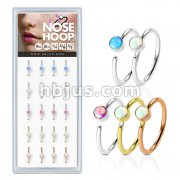 20 Pcs Pre Loaded Round Opal Set 316L Surgical Steel Nose Hoop Rings Pack