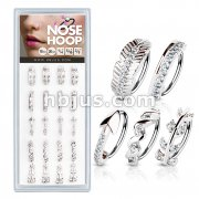 20 Pcs Pre Loaded Mixed Styles 316L Surgical Steel Nose Hoop Rings Pack (5 Styles x 4 Pcs)