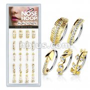 20 Pcs Pre Loaded Mixed Styles Gold IP316L Surgical Steel Nose Hoop Rings Pack (5 Styles x 4 Pcs)