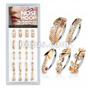 20 Pcs Pre Loaded Mixed Styles RoseGold IP 316L Surgical Steel Nose Hoop Rings Pack (5 Styles x 4 Pcs)