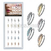 20 Pcs Pre LoadedLined CZ Set Twisted Bar 316L Surgical Steel Nose Hoop Rings Pack (5 Colors x 4 Pcs)