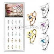 20 Pcs Pre Loaded Box of Gem Centered Flower Top 20ga 316L Surgical Steel Nose Hoop Rings Pack (5 Colors x 4 Pcs)