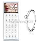 20 Pcs Pre Loaded Clear Stone Set 316L Surgical Steel Nose Hoop Rings Pack