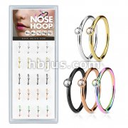 20 Pcs Pre Loaded Clear Stone Set IP Over316L Surgical Steel Nose Hoop Rings Pack