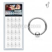 20 Pcs Pre Loaded 316L Surgical Steel Fixed Ball Hoop Rings Pack
