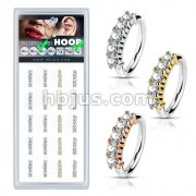 20 Pcs Pre Loaded Perfectly Annealed Bendable 5 Lined CZ 316L Surgical Steel Hoop Ring Pack