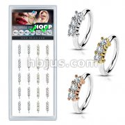 20 Pcs Pre Loaded Perfectly Annealed Bendable 3 Lined CZ 316L Surgical Steel Hoop Ring Pack