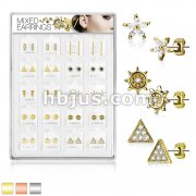 20 Pairs Of Assorted Earring Studs Preloaded Into Puff Pad Acrylic Display Case (2 Pairs x 10 Styles)