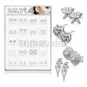 20 Pairs Of Assorted .925 Sterling Sliver Fancy Earring Studs Preloaded Into Puff Pad Acrylic Display Case (1 Pairs x 20 Styles)