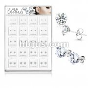 20 Pairs Of Assorted Size CZ Set .925 Sterling Silver Earring Studs Preloaded Into Puff Pad Acrylic Display Case (4 Pairs x 5 Sizes)