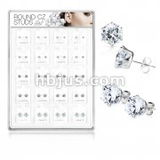 20 Pairs Of Assorted Size CZ Set 316L Surgical Stee Earring Studs Preloaded Into Puff Pad Acrylic Display Case (4 Pairs x 5 Sizes)