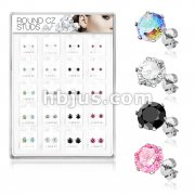 20 Pairs Of Assorted Size CZ Set 316L Surgical Steel Earring Studs Preloaded Into Puff Pad Acrylic Display Case (1 Pairs x 4 Colors x  5 Sizes)