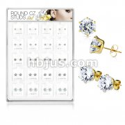 20 Pairs Of Assorted Size CZ Set Gold IP Over316L Surgical Steel Earring Studs Preloaded Into Puff Pad Acrylic Display Case (4 Pairs x 5 Sizes)
