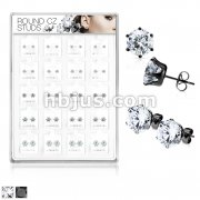 20 Pairs Of Assorted Size CZ Set Black IP Over 316L Surgical Steel Earring Studs Preloaded Into Puff Pad Acrylic Display Case (4 Pairs x 5 Sizes)