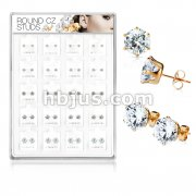20 Pairs Of Assorted Size CZ Set RoseGold IP Over 316L Surgical Steel Earring Studs Preloaded Into Puff Pad Acrylic Display Case (4 Pairs x 5 Sizes)