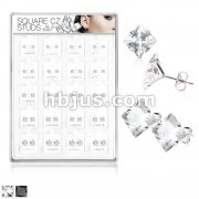 20 Pairs Of Assorted Size Square CZ Set 316L Surgical Steel Earring Studs Preloaded Into Puff Pad Acrylic Display Case (4 Pairs x 5 Sizes)