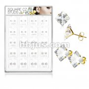 20 Pairs Of Assorted Size Square CZ Set Gold IP 316L Surgical Steel Earring Studs Preloaded Into Puff Pad Acrylic Display Case (4 Pairs x 5 Sizes)
