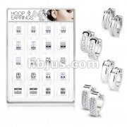 20 Pairs Of Assorted Styles 316L Surgical Steel Hoop Earrings Preloaded Into Puff Pad Acrylic Display Case (2 Pairs x 10 Styles)