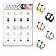 20 Pairs Of Assorted 316L Surgical Steel Plain Dome Hoop Earrings Preloaded Into Puff Pad Acrylic Display Case (2 Pairs x 10 Styles)