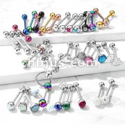 Starter Pack 120pcs 316L Surgical Steel Barbells/Tongue Rings Pre Assorted Best Sellers