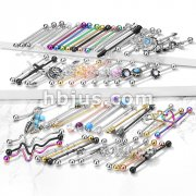 Starter Pack 180pcs 316L Surgical Steel Industrial Barbells Pre Assorted Best Sellers