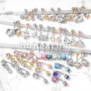 Starter Pack 120 pcs Solitaire Gemmed Belly/Navel Rings Pre Assorted Best Sellers