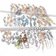 Starter Pack 119 pcs Fancy Dangle Belly/Navel Rings Pre Assorted Best Sellers