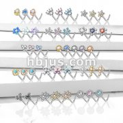 Starter Pack 129 Pcs 316L Surgical Steel L Bend Nose Stud Rings Pre Assorted Best Sellers