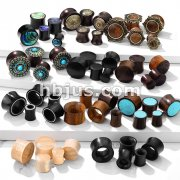 Starter Pack 220 Pcs Organic Wood/Horn Plugs  Assorted Best Sellers