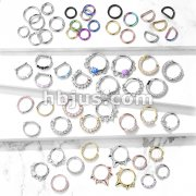 Starter Pack 171 pcs Clickers and Bendable Hoop Rings Pre Assorted Best Sellers for Nose Septum and Daith Piercing