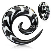 Spiral Organic Horn Taper with Abalone & Bone Inlay