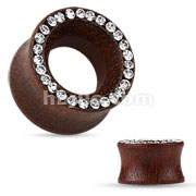Organic Rose Wood Double Flared Tunnel with Crystal Paved Rim