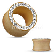 Organic Maple Wood Double Flared Tunnel with Hot Fixed on Clay Crystal Paved Rim
