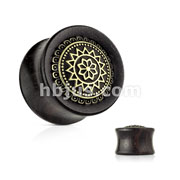 Antique Gold Plated Tribal Sun Shield Front Set Organic Ebony Wood Saddle Plugs