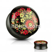 Printed Flower Inlaid Organic Ebony Wood Saddle Plugs