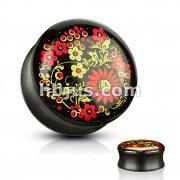 Printed Flower Inlaid Organic Ebony Wood Saddle Plugs